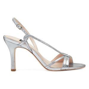 Nine West Silver Accolia Strappy Sandal Heels